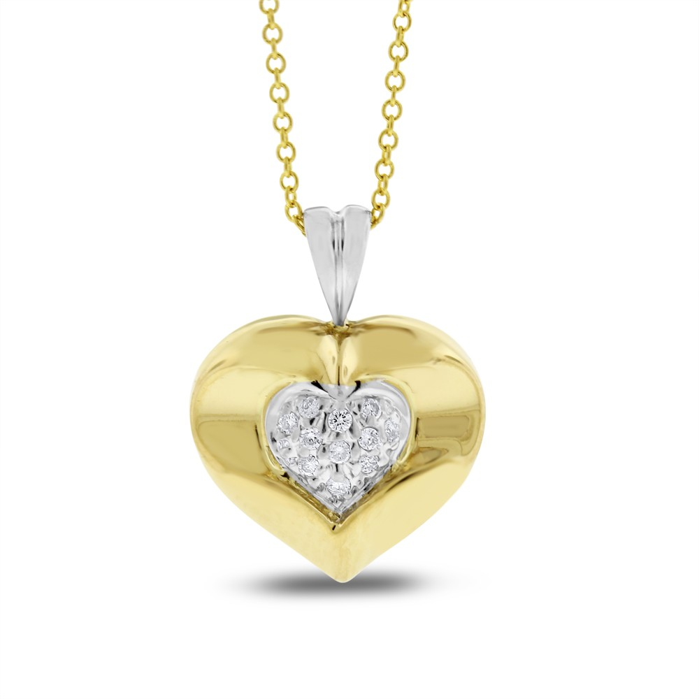 """Image of """"14K Yellow Gold 0.11ct. Diamond Small Heart Pendant Necklace"""""""