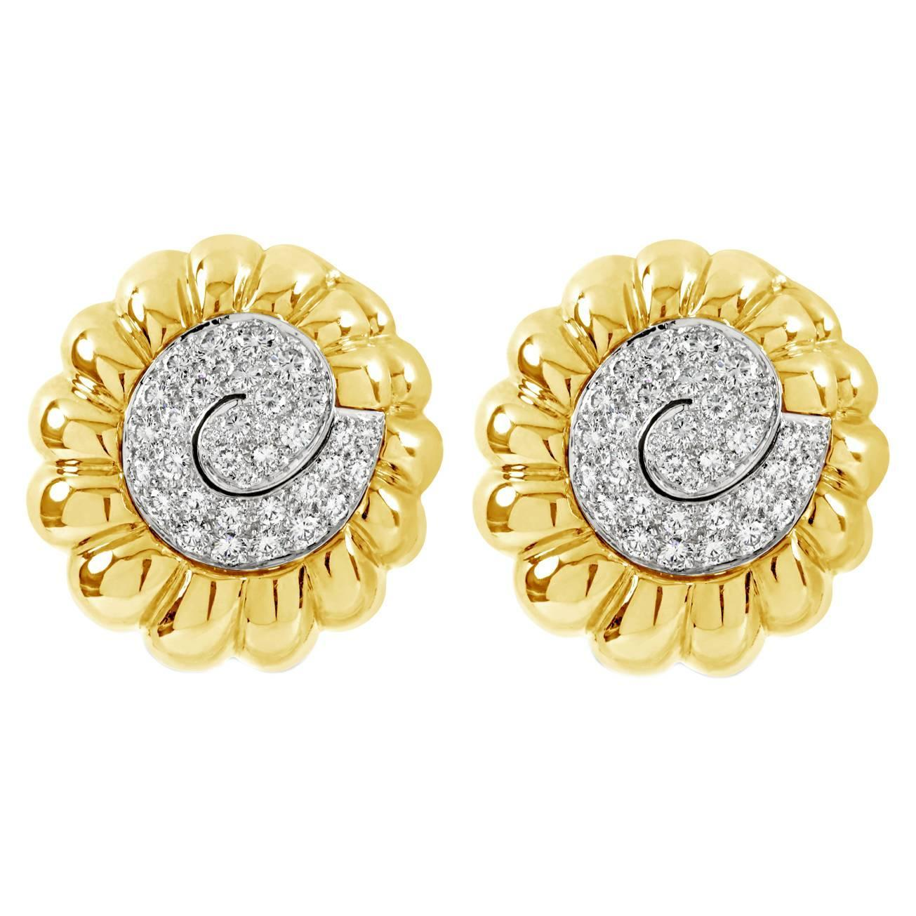 "Image of ""David Webb 18K Yellow Gold and Platinum 4.85 Ct Diamond Swirl Earrings"""