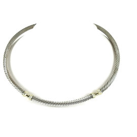 David Yurman Sterling Silver 14K Yellow Gold Segmented Thoroughbred Cable Necklace