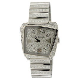 De Beers Talisman 18K White Gold Diamond Womens Watch