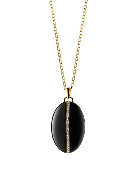"Image of ""Monica Rich Kosann 18K Yellow Gold and Black Ceramic Diamond Stripe"""