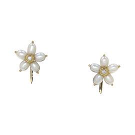Mikimoto 18K Yellow Gold Freshwater Pearl & Diamond Earrings