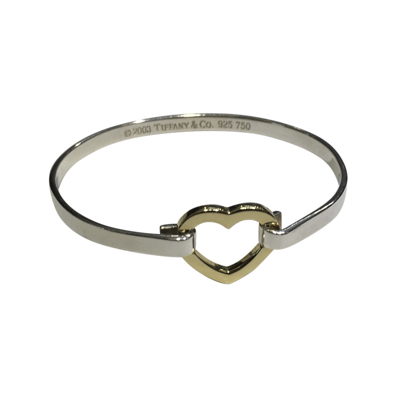 "Image of ""Tiffany & Co. Sterling Silver and 18K Yellow Gold Heart Bangle"""