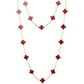 Van Cleef & Arpels 18K Yellow Gold & Carnelian 20 Motifs Alhambra Necklace