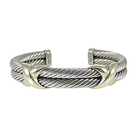 David Yurman 925 Sterling Silver 14K Yellow Gold 2-Row XX Bracelet