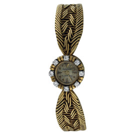Jaeger LeCoultre 18K Yellow Gold and Diamond Vintage Womens 14mm Watch