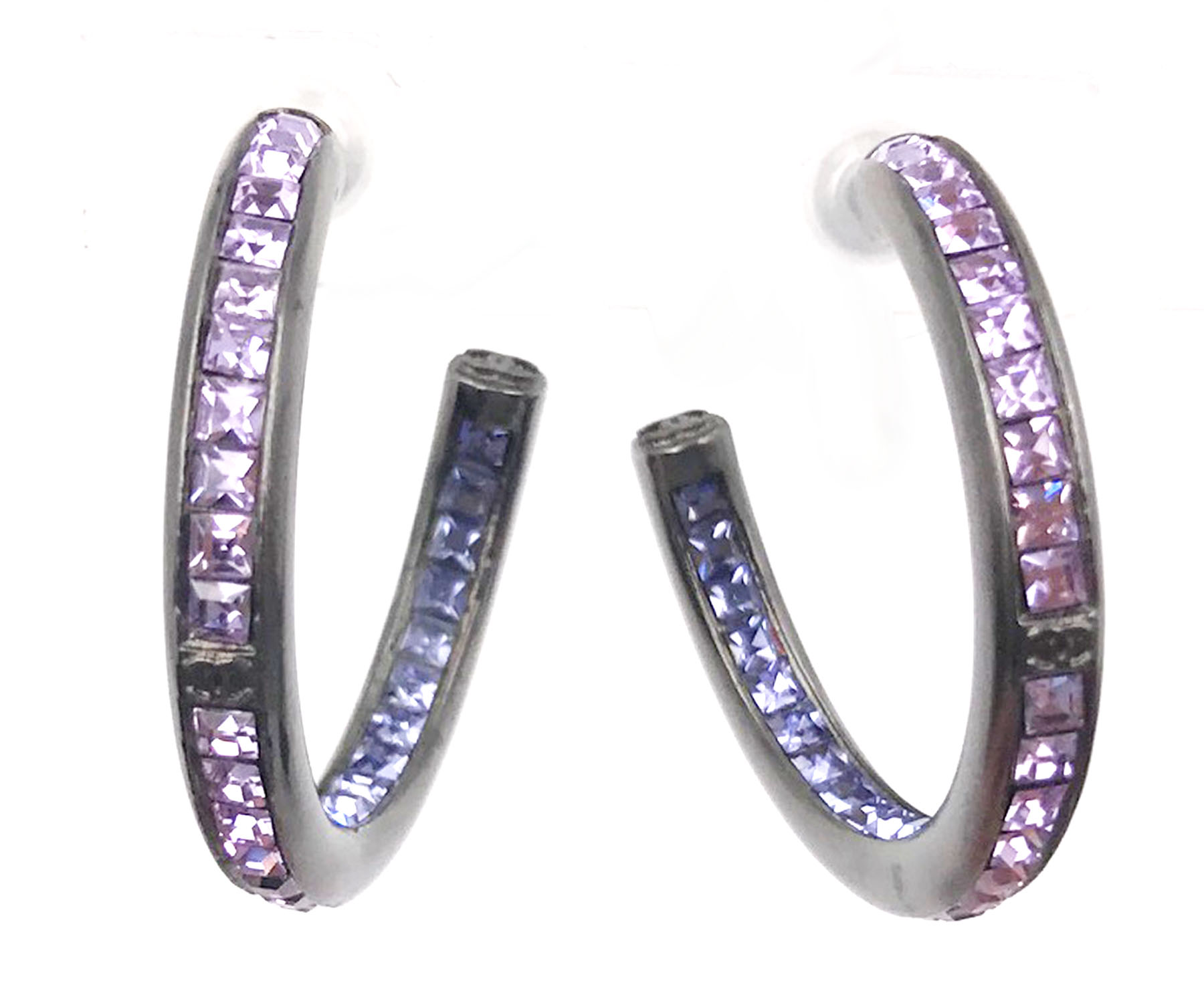 "Image of ""Chanel Ruthenium Hook Purple & Blue Crystal Medium Size Earrings"""