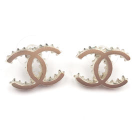Chanel Gold-Tone CC Ruffle Edge Piercing Earrings