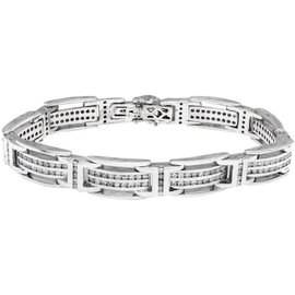 14K White Gold and 5.67ct Round Cut Diamonds Bracelet