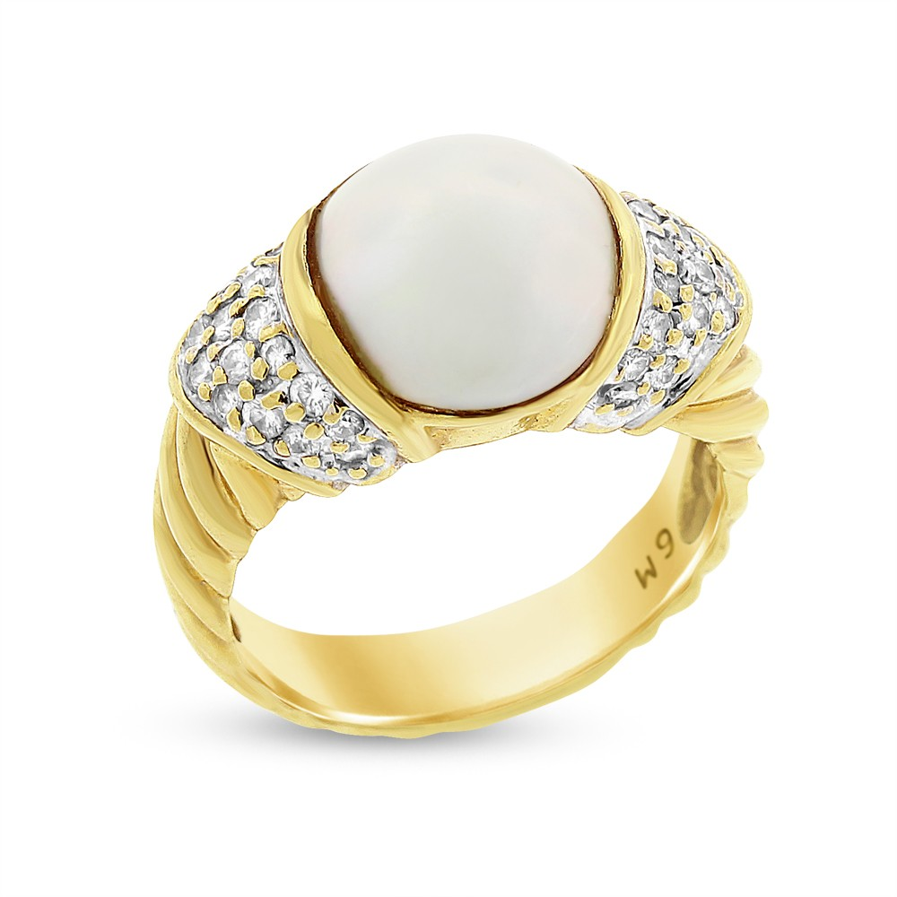 "Image of ""18k Yellow Gold David Yurman 0.45 Ct. Diamond & Mabe Pearl Textured"""