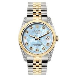 Rolex Date Stainless Steel & 18K Yellow Gold MOP & Diamond 34mm Watch