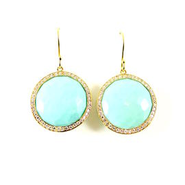 Ippolita 18K Yellow Gold Turquoise & .66tcw Diamond Lollipop Round Earrings