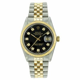 Rolex Datejust 16013 Stainless Steel & 18K Yellow Gold Black Diamond Dial 36mm Mens Watch