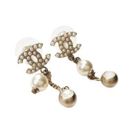 Chanel CC Gold Tone Metal Faux Pearl Dangle Earrings