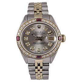 Rolex Datejust 18K Yellow Gold & Stainless Steel Diamond & Ruby 26mm Watch