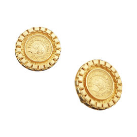 Chanel Gold Tone Hardware Round Clip On Earrings