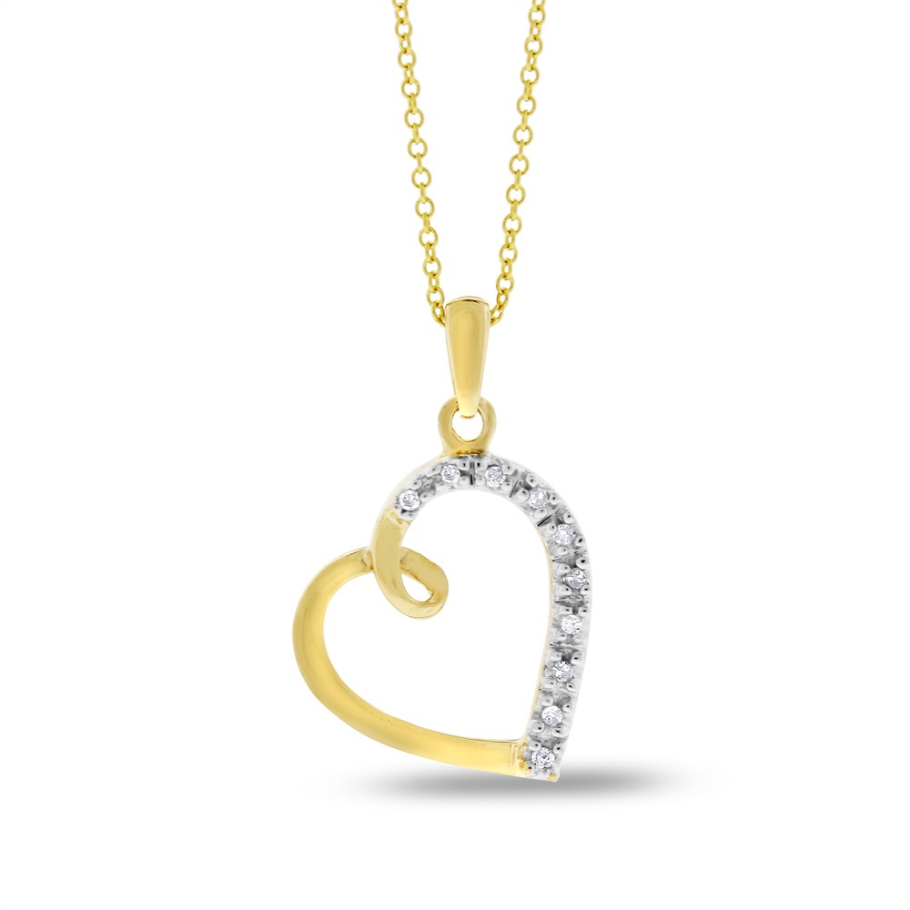 "Image of ""10k Gold 0.05 Ct. Natural Diamond Slanted Heart Pendant"""