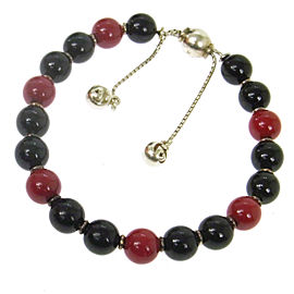 Gucci Silver Tone Hardware with Red/Navy Beads Bracelet