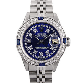 Rolex Datejust Stainless Steel & 18K White Gold Diamond & Sapphire 26mm Watch