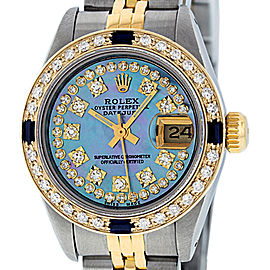 Rolex Datejust Stainless Steel and 18K Yellow Gold Blue Mother of Pearl Diamond Dial 26mm Women's Watch