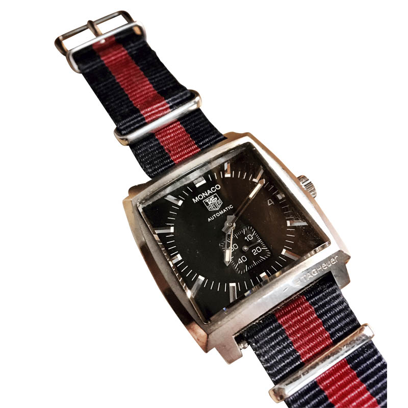 "Image of ""Tag Heuer Monaco Stainless Steel & Fabric 37.50mm Watch"""