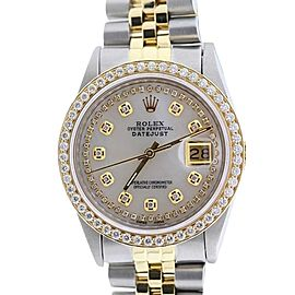 Rolex Datejust 18K Yellow Gold & Stainless Steel MOP & Diamond 36mm Watch