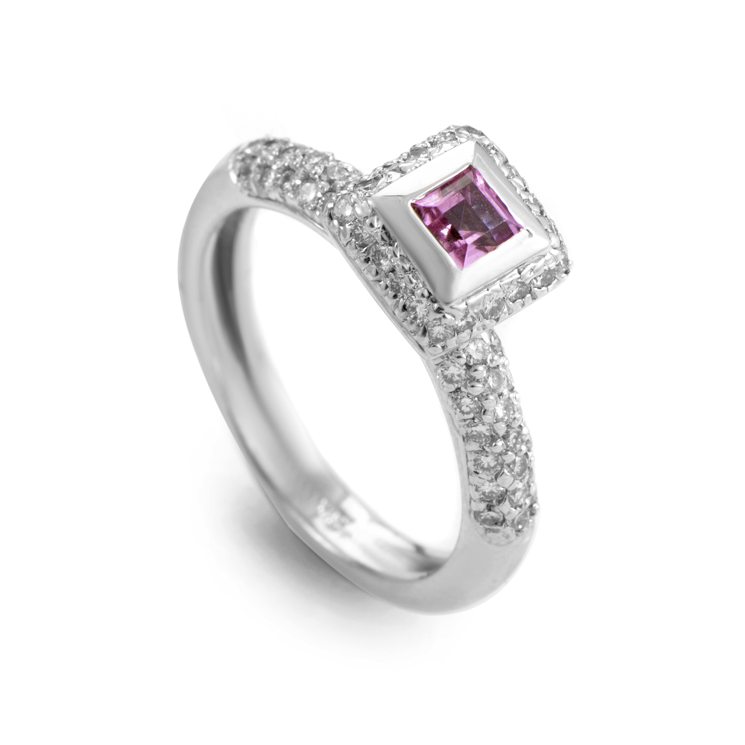 "Image of ""Barry Kronen 18K White Gold Pink Sapphire and Diamond Ring"""