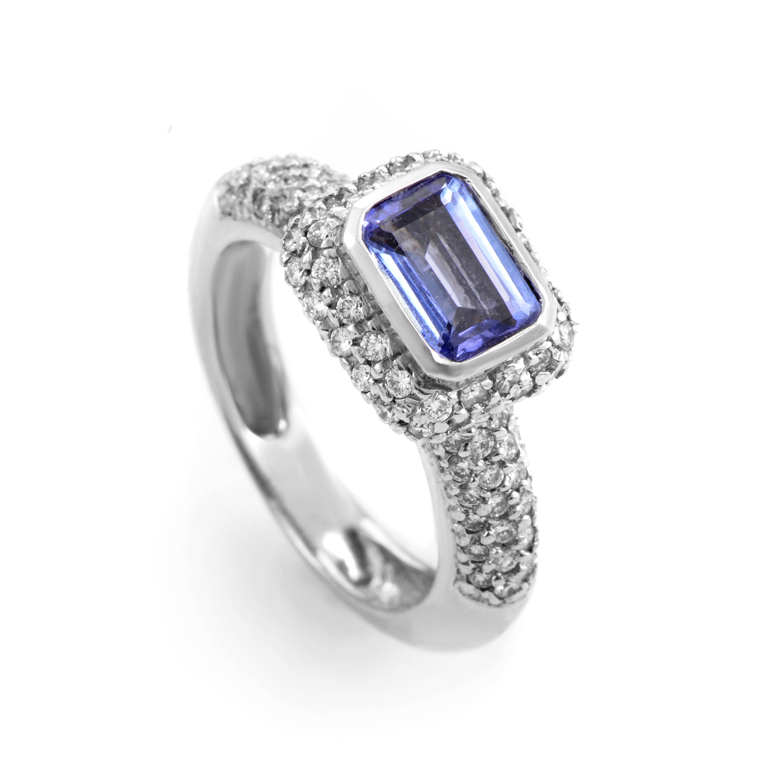 "Image of ""Barry Kronen 18K White Gold Tanzanite and Diamond Ring"""
