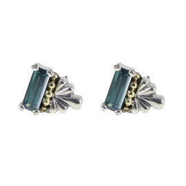 Lagos 925 Sterling Silver 18K Yellow Gold Delta Glacier Topaz Earrings