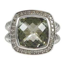 David Yurman 925 Sterling Silver .24tcw Prasiolite Diamond Albion Ring Size 6.25