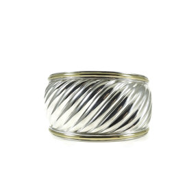 David Yurman Sterling Silver and 18K Yellow Gold Wide Cable Cuff Bracelet
