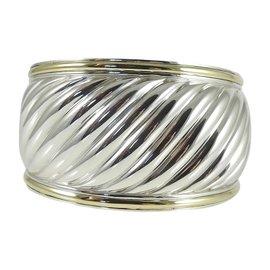 David Yurman 925 Sterling Silver 18K Yellow Gold Cable Cuff Bracelet
