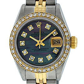 Rolex Datejust Watch Stainless Steel and 18K Yellow Gold Tahitian Mother of Pearl Diamond Dial 26mm Women's Watch