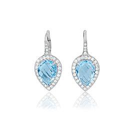 Pear Shape Blue Topaz and Diamond Halo Lever Back Drop Earrings