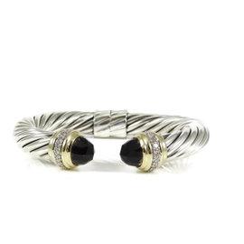 David Yurman Sterling Silver 18K Yellow Gold and Smoky Quartz Diamond Cable Bracelet