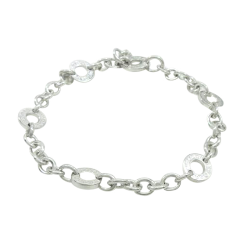 "Image of ""Bulgari 18K White Gold Charm Bracelet"""