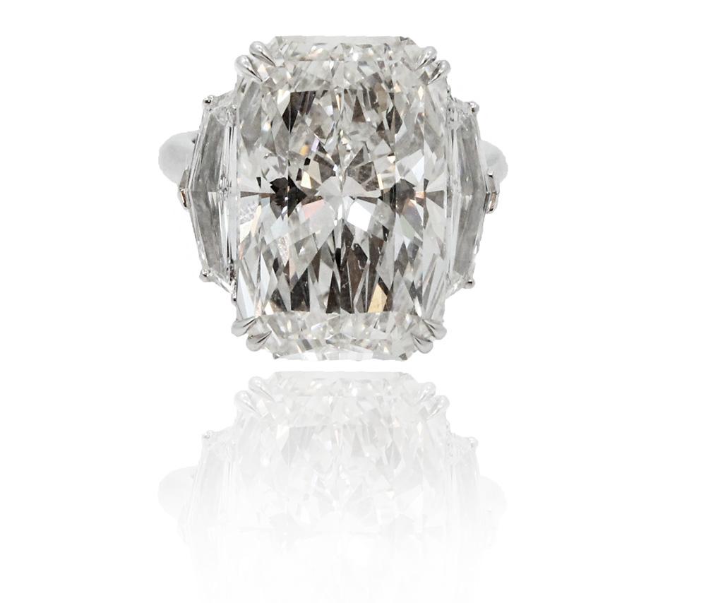 "Image of ""Platinum With 15.03ct Radiant Diamond Engagement Ring Size 6.5"""