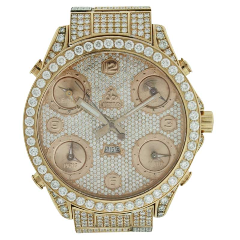 "Image of ""Jacob & Co. 5 Time Zone with Date 18K Rose Gold Diamonds 47mm Mens"""