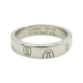 Cartier Happy Birthday 18K White Gold Ring Size 4.75