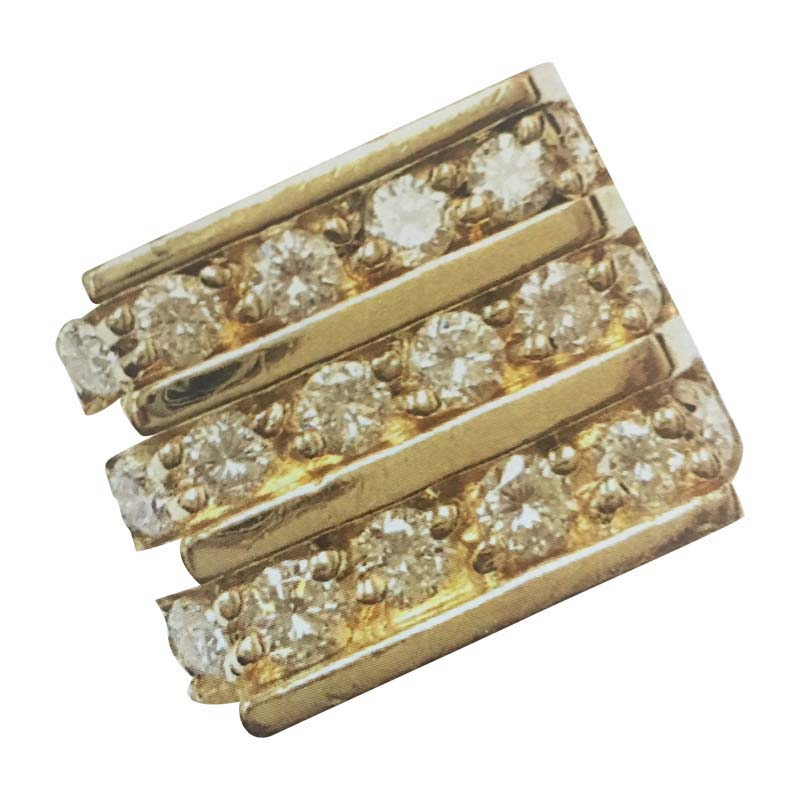 "Image of ""14K Yellow Gold & Diamonds Three Tiered Gold Ring"""