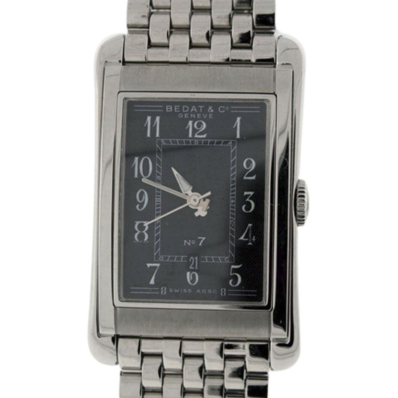 """Image of """"Bedat & Co. No.7 Stainless Steel Black Dial Mens Watch"""""""