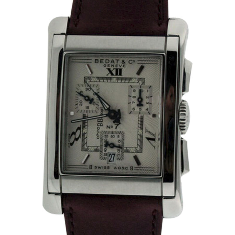 """Image of """"Bedat & Co. No.7 Stainless Steel & Leather Chronograph Mens Watch"""""""