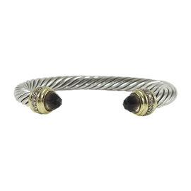 David Yurman 925 Sterling Silver 18K Yellow Gold .48tcw Smoky Quartz Diamond Cable Classics Bracelet