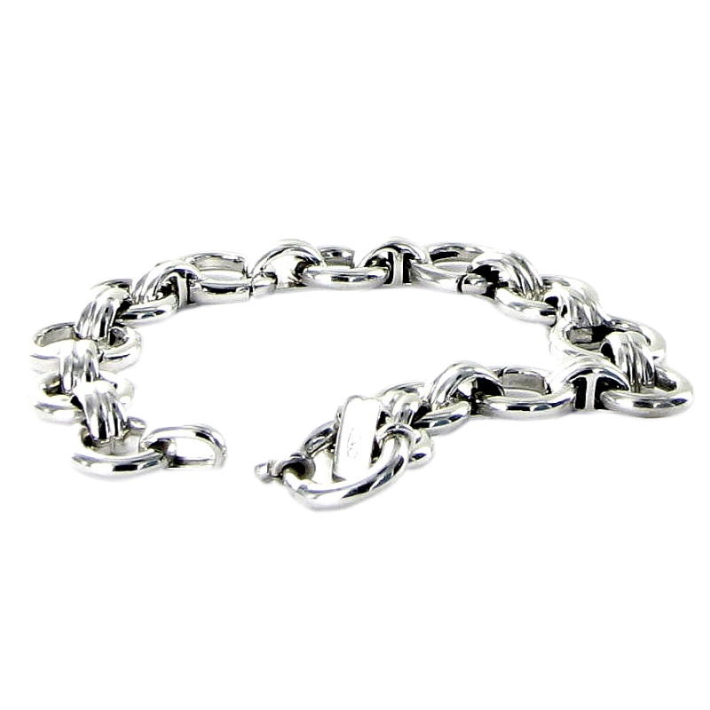 "Image of ""18 Karat White Gold Large and Small Pattern Round Link Bracelet"""