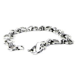 18 Karat White Gold Large and Small Pattern Round Link Bracelet