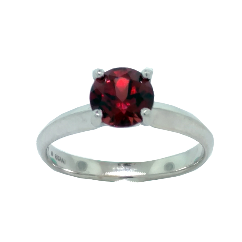 "Image of ""Ritani 18K White Gold and Garnet Ring Size 6.5"""