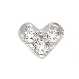 White Rhodium Over Silver Diamond Heart Single Earring