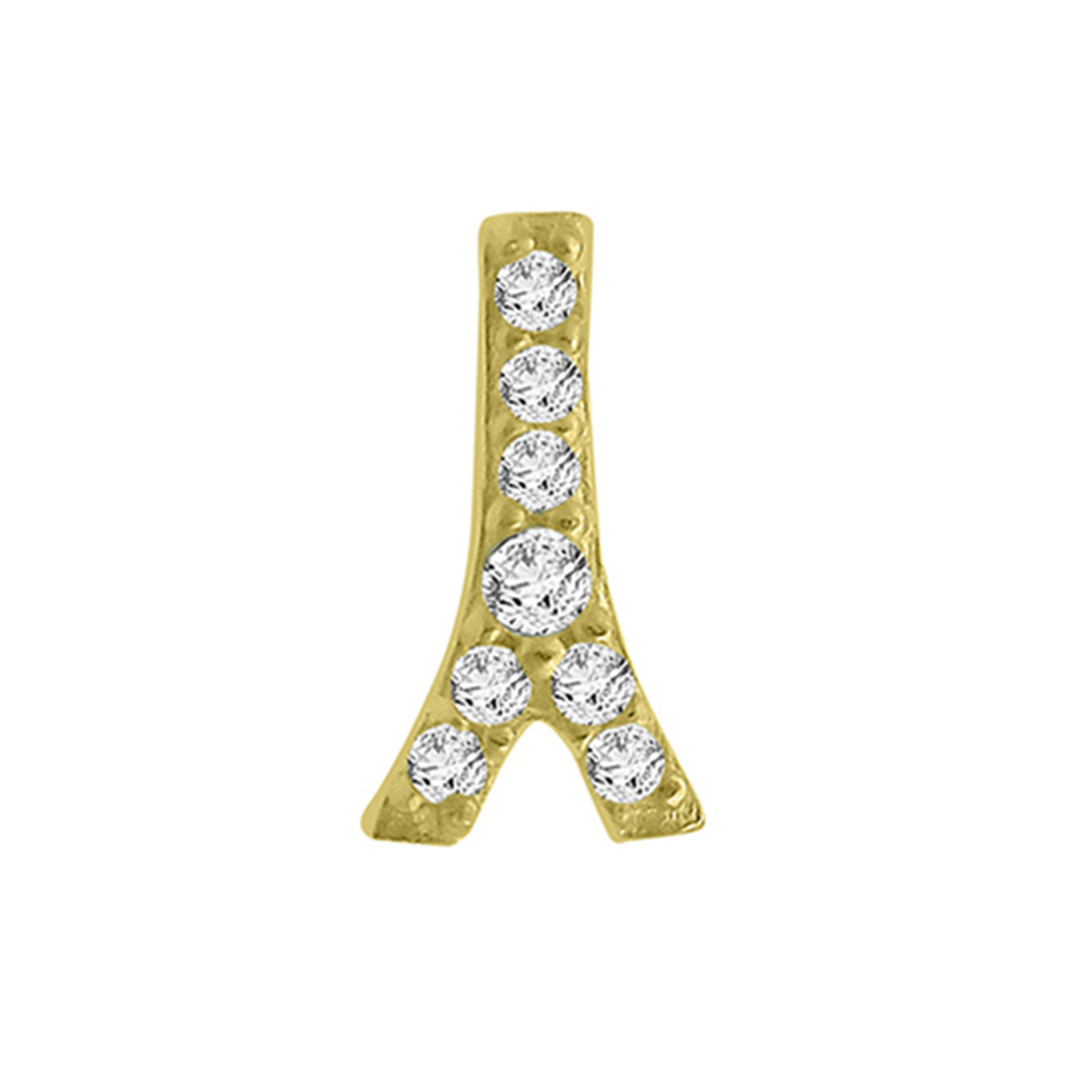 "Image of ""14k Yellow Gold Diamond Eiffel Tower Single Earring"""