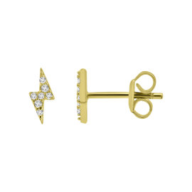 Yellow Gold Over Silver Diamond Bolt Earrings