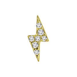 Yellow Gold Over Silver Diamond Bolt Single Earring
